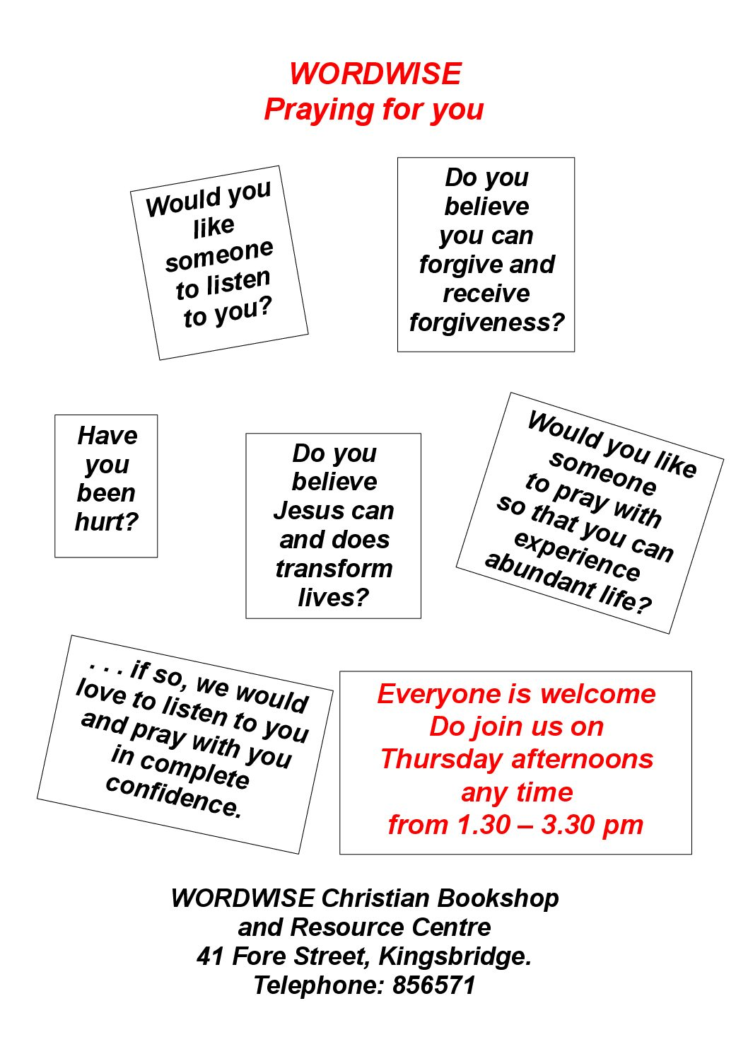 Prayer Ministry available