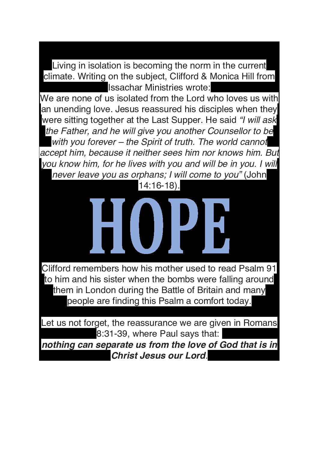 Hope in the midst of Isolation